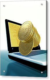 Bitcoins And A Laptop Acrylic Print by Victor Habbick Visions
