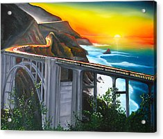 Bixby Coastal Bridge Of California At Sunset Acrylic Print by Portland Art Creations