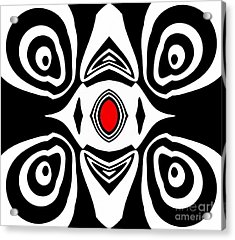 Abstract Black White Red Art No.213 Acrylic Print by Drinka Mercep