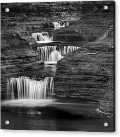 Black And White Cascade Square Acrylic Print by Bill Wakeley
