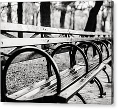 Black And White Central Park Bench In New York City Acrylic Print by Lisa Russo