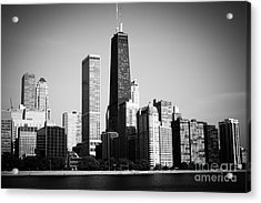 Black And White Chicago Skyline With Hancock Building Acrylic Print