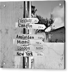 Black And White Directional Sign Acrylic Print