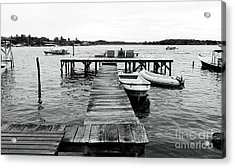 Black And White Dock Acrylic Print by John Rizzuto