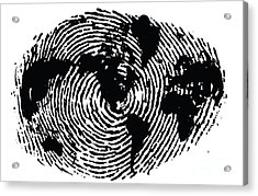 black and white ink print poster One of a Kind Global Fingerprint Acrylic Print by Sassan Filsoof