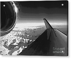 Acrylic Print featuring the photograph Jet Pop Art Plane Black And White  by R Muirhead Art