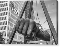 Black And White Joe Louis Fist And Flag Acrylic Print