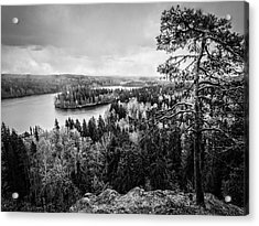 Black And White Lake View Acrylic Print