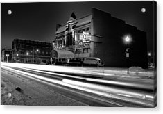 Black And White Light Painting Old City Prime Acrylic Print by Dan Sproul