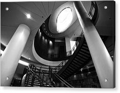 Black And White Lobby Staircase Acrylic Print by Dan Sproul