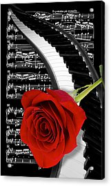 Black And White Music Collage Acrylic Print