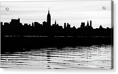Acrylic Print featuring the photograph Black And White Nyc Morning Reflections by Lilliana Mendez