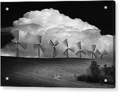 Black And White Of Wind Generators With Acrylic Print by Don Hammond