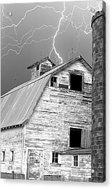 Black And White Old Barn Lightning Strikes Acrylic Print