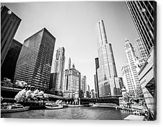 Black And White Picture Of Downtown Chicago Acrylic Print by Paul Velgos