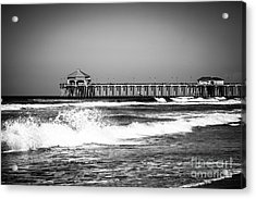 Black And White Picture Of Huntington Beach Pier Acrylic Print by Paul Velgos