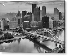 Black And White Pittsburgh Sunrise Acrylic Print by Adam Jewell