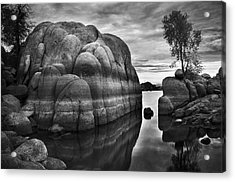 Black And White Rocks At Watson Lake Near Prescott Arizona Acrylic Print by Dave Dilli