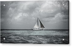 Black And White Sail Boat Acrylic Print by Kristina Deane