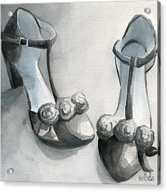 Black And White T Strap Shoe Painting Acrylic Print by Beverly Brown