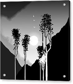 Black And White Trees Acrylic Print by GuoJun Pan