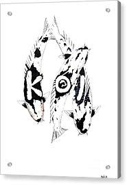 Black And White Trio Of Koi Acrylic Print by Gordon Lavender