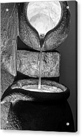 Black And White Water Pouring Forth From Large Stone Pots Acrylic Print