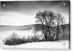 Black And White Winter Landscape With Trees Acrylic Print by Matthias Hauser