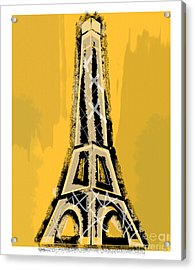 Black And Yellow Eiffel Tower Paris Acrylic Print