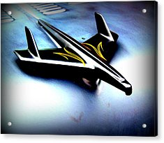 Black And Yellow Hood Ornament  Acrylic Print by Willy  Nelson