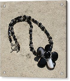 Black Banded Onyx Wire Wrapped Flower Pendant Necklace 3634 Acrylic Print by Teresa Mucha