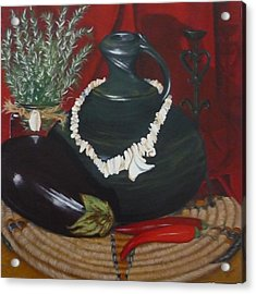 Acrylic Print featuring the painting Black Bottle by Helen Syron