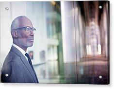 Black Businessman Looking Out Window Acrylic Print by Hill Street Studios Llc