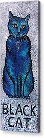 Black Cat Blue Acrylic Print by Michelle Boudreaux