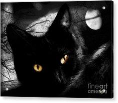 Acrylic Print featuring the digital art Black Cat Golden Eye by Mindy Bench