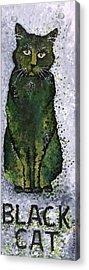 Black Cat Green Acrylic Print by Michelle Boudreaux