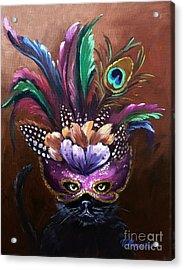 Black Cat With Venetian Mask Acrylic Print