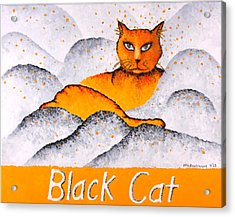 Black Cat Yellow Acrylic Print by Michelle Boudreaux