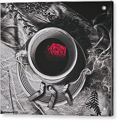 Black Coffee And Roses Acrylic Print by Larry Butterworth