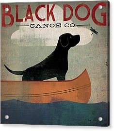 Black Dog Canoe Acrylic Print by Ryan Fowler