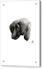 Black Dog Labrador Gold Golden Retriever Eye Portrait Animal Animals Pet Pets Watercolor Painting Acrylic Print