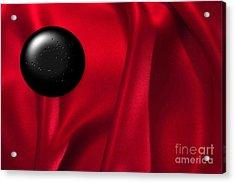 Black Dot On Red Silk Acrylic Print by Tina M Wenger