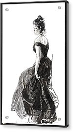 Black Evening Dress 1901 Acrylic Print by Padre Art