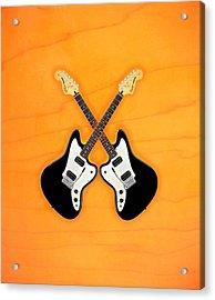 Black Fender Jaguar  Guitar Acrylic Print by Doron Mafdoos