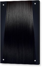 Black Hair Perfect Straight Acrylic Print