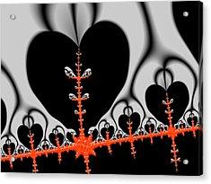 Black Hearts Red Fractal Acrylic Print