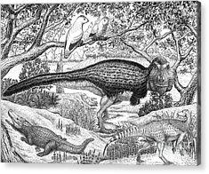 Black Ink Drawing Of Extinct Animals Acrylic Print by Vladimir Nikolov