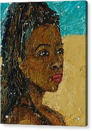 Black Lady No.9 Acrylic Print by Janet Ashworth