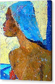 Black Lady With Blue Head-dress Acrylic Print by Janet Ashworth