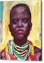 Black Lady With Necklaces Acrylic Print by Janet Ashworth